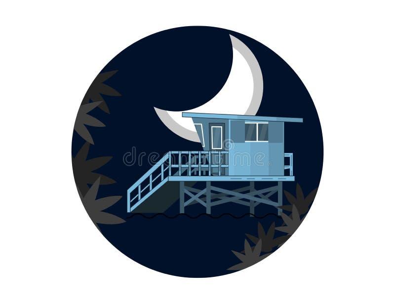 Paesaggio di notte del mare con il bagnino House su una spiaggia e su una luna nella progettazione piana illustrazione di stock