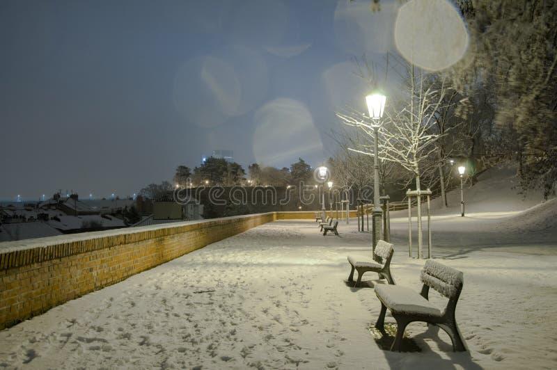 Paesaggio di notte delle vie nevose di Praga fotografia stock