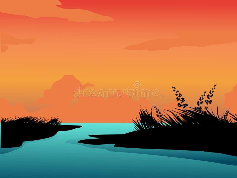 Paesaggio di notte di estate Grande lago Tempo libero illustrazione vettoriale