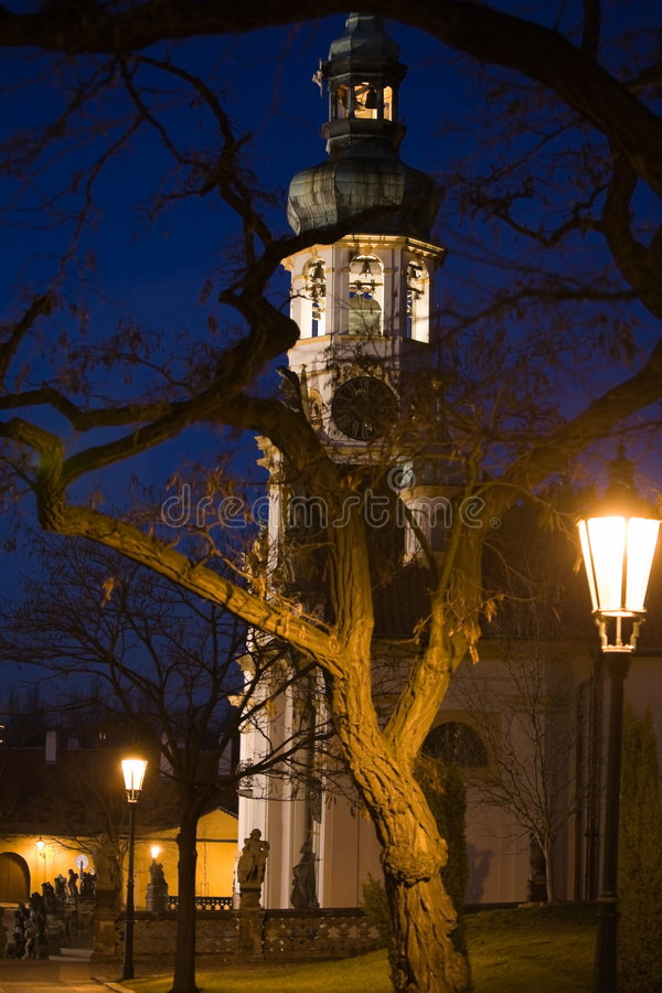 Paesaggio di notte di Praga fotografia stock
