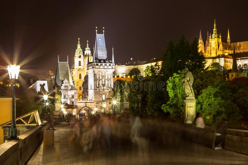 Paesaggio di notte di Praga, repubblica Ceca fotografie stock libere da diritti