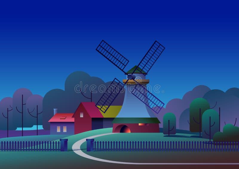Paesaggio di notte di PrintCountryside con il mulino e l'azienda agricola sul prato, alberi e foresta su fondo - illustrazione pi royalty illustrazione gratis