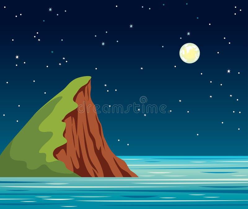 Paesaggio di notte, scogliera - isola, cielo, stella, mare royalty illustrazione gratis