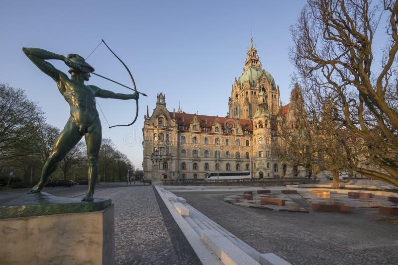 Paesaggio di nuovo municipio a Hannover, Germania fotografia stock