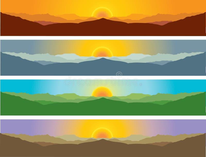 Paesaggio di paesaggio della montagna in quattro stagioni royalty illustrazione gratis