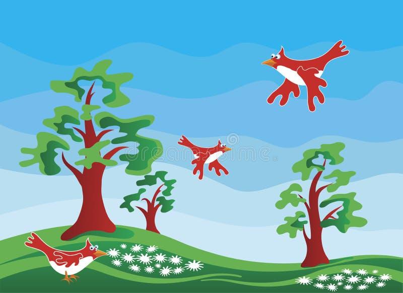 Paesaggio di paesaggio di estate illustrazione vettoriale