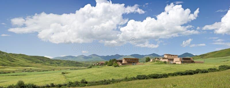 Paesaggio di panorama nel Tibet immagine stock