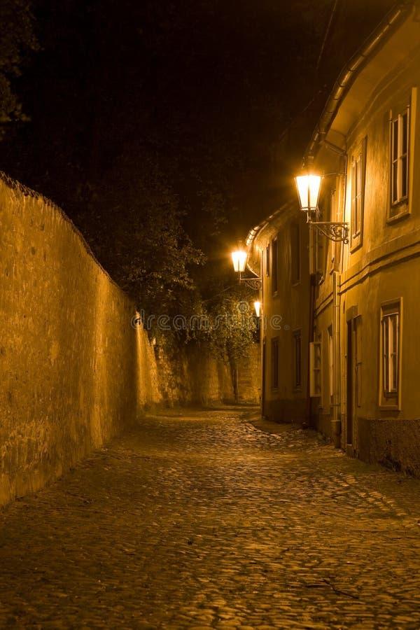 Paesaggio di Praga di notte immagine stock libera da diritti