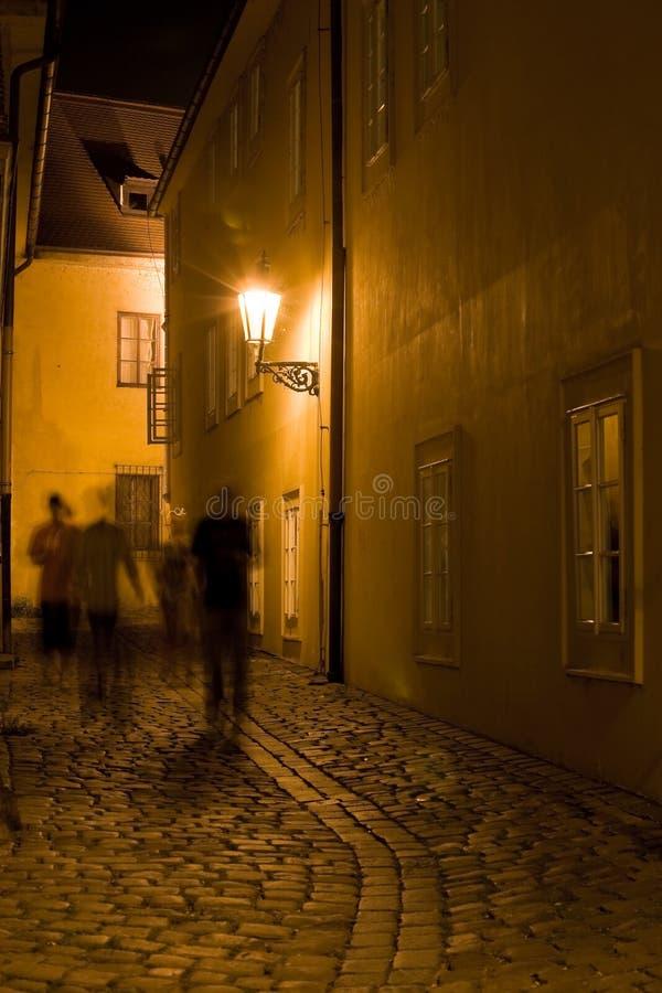 Paesaggio di Praga di notte fotografia stock