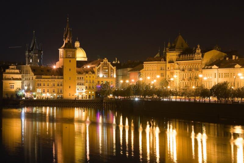 Paesaggio di Praga di notte fotografia stock libera da diritti