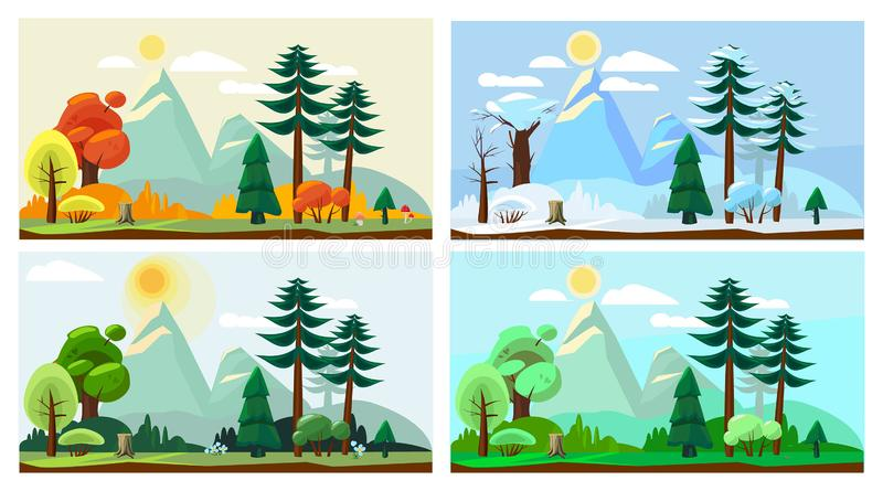 Paesaggio di quattro stagioni Fondo del fumetto di vettore di paesaggio della natura del tempo di inverno di estate di autunno de royalty illustrazione gratis