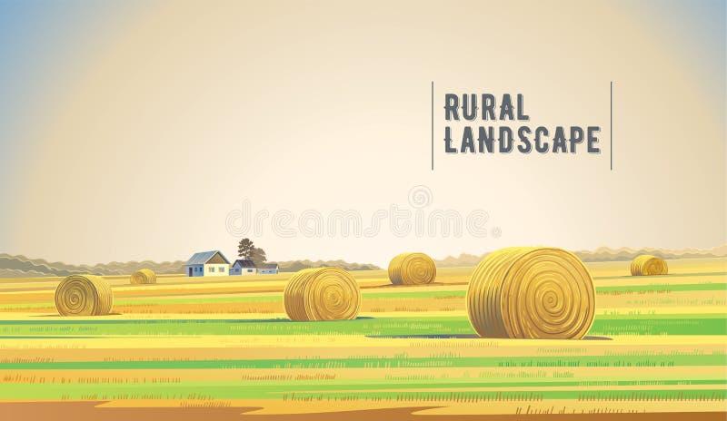 Paesaggio di Rrual con fieno illustrazione di stock