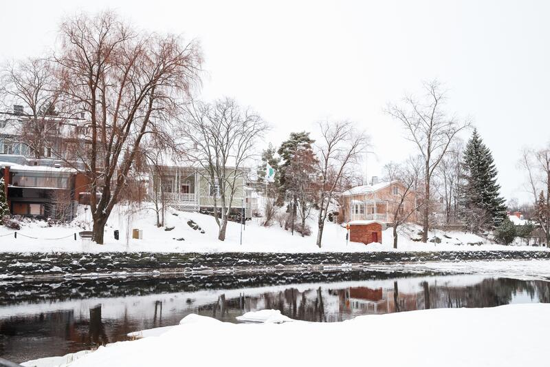 Paesaggio di Savonlinna, Finlandia nella stagione invernale fotografia stock libera da diritti