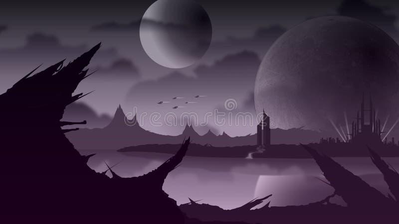 Paesaggio di Sci Fi sul pianeta porpora illustrazione vettoriale