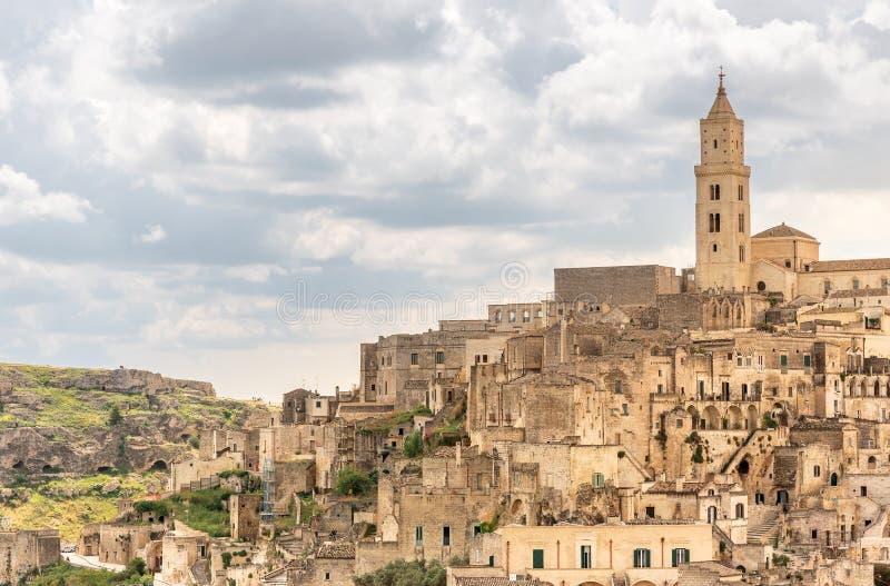 Paesaggio di stupore con Matera, Italia - capitale europea di cultura nel 2019 fotografie stock