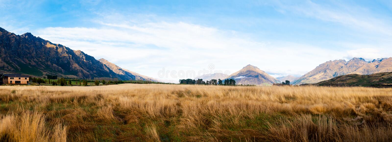 Paesaggio di stupore osservato della catena montuosa della Nuova Zelanda fotografia stock