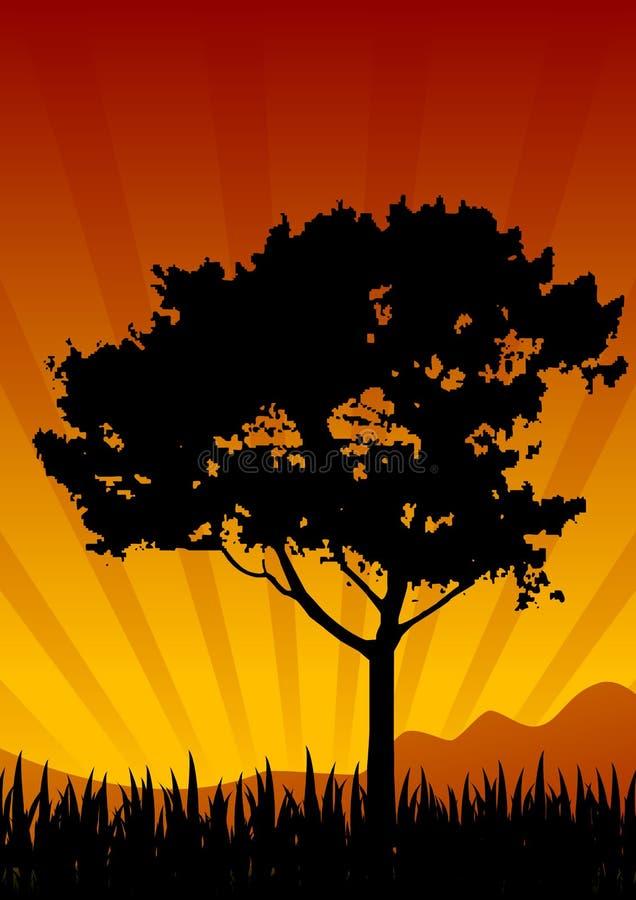paesaggio di tramonto royalty illustrazione gratis