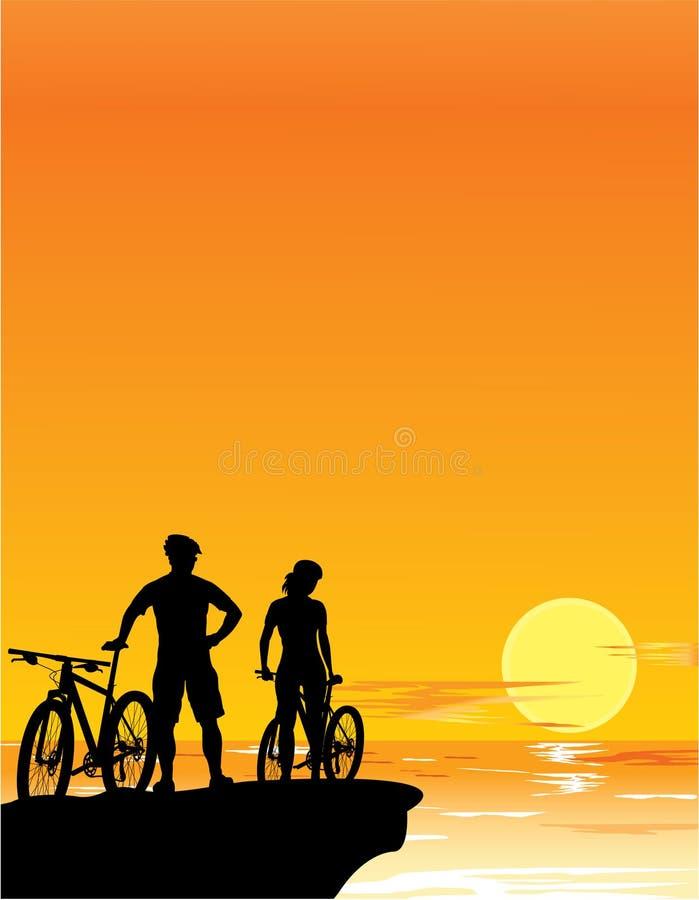 Paesaggio di tramonto illustrazione vettoriale