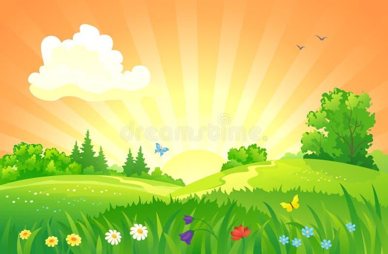 Paesaggio di tramonto di estate royalty illustrazione gratis
