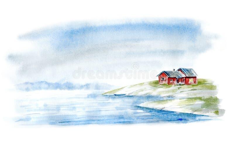 Paesaggio di un mare, di una casa e di una nave di navigazione illustrazione vettoriale