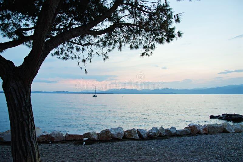 Paesaggio di vacanza estiva della passeggiata del lago all'ora blu fotografia stock libera da diritti