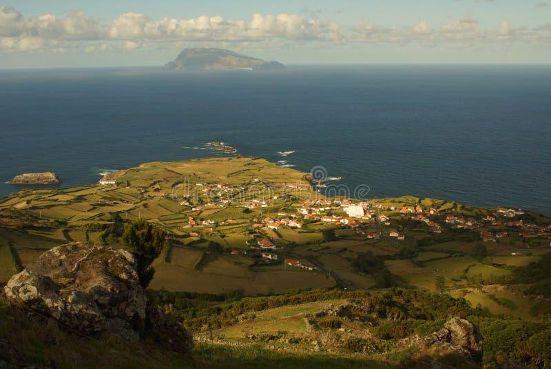 Paesaggio di verde del Flores, Azzorre, Portogallo immagini stock libere da diritti