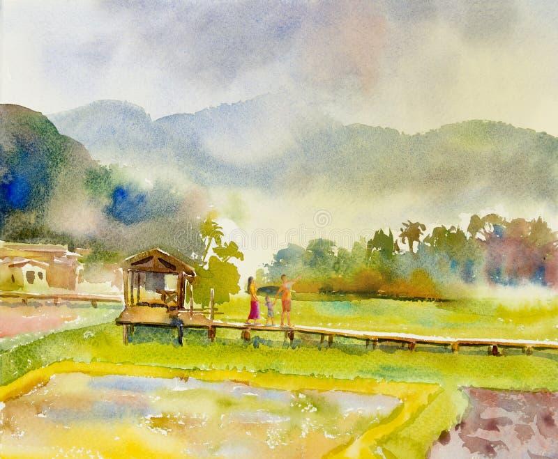 Paesaggio di verniciatura dell'acquerello della famiglia felice nella mattina illustrazione di stock