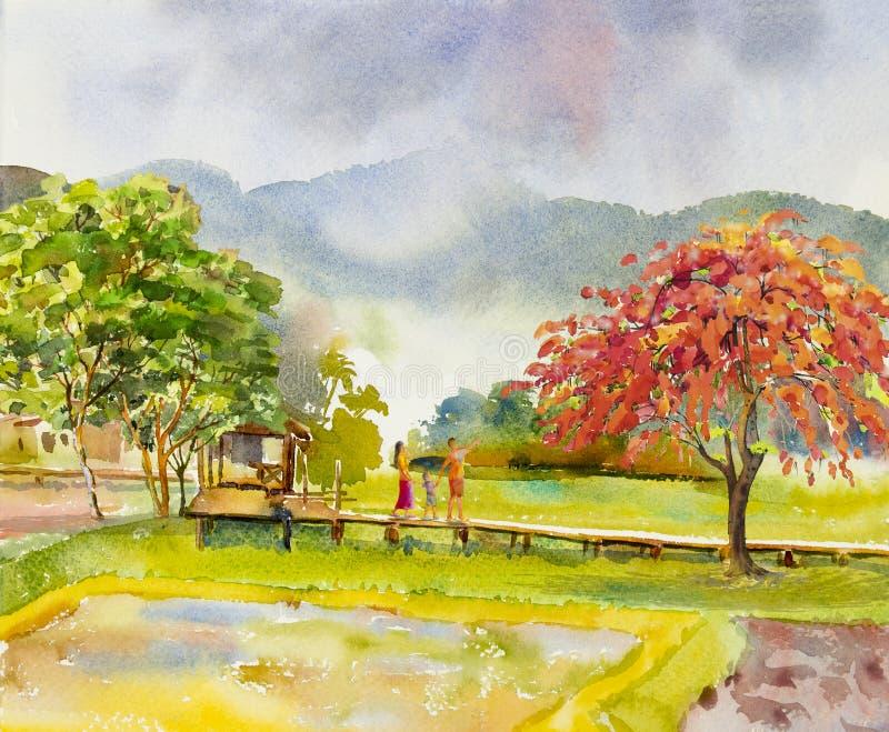Paesaggio di verniciatura dell'acquerello della famiglia felice nella mattina illustrazione vettoriale