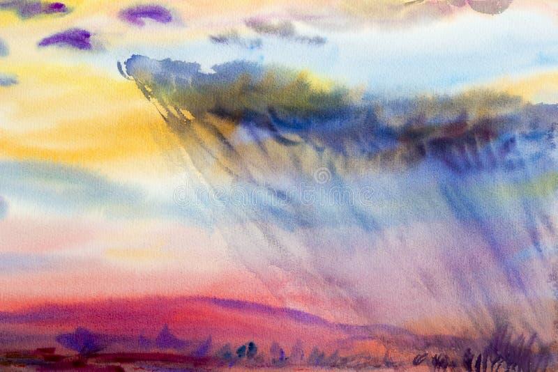 Paesaggio di verniciatura variopinto del campo di mais del prato del raincloud in montagna royalty illustrazione gratis