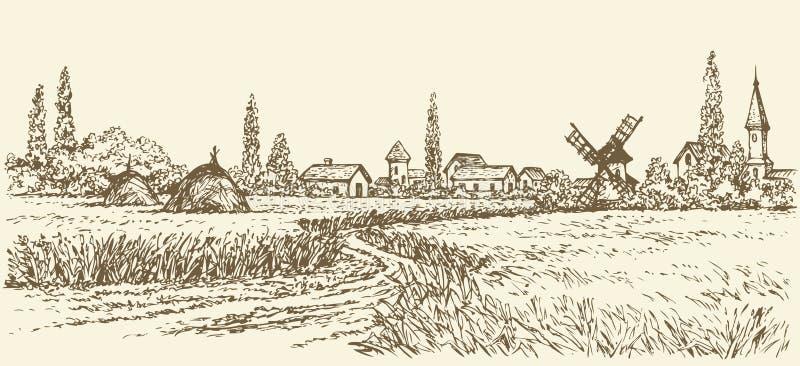 Paesaggio di vettore Percorso attraverso i campi al mulino a vento royalty illustrazione gratis
