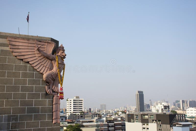 Paesaggio di vista aerea e paesaggio urbano della città di Bangkok dalla posta centrale al distretto di Rak di colpo a Bangkok, T immagine stock