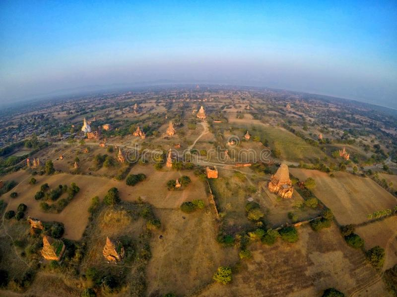 Paesaggio di vista superiore di Bagan, Myanmar immagini stock libere da diritti