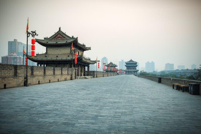 Paesaggio di Xian sul muro di cinta antico immagine stock libera da diritti