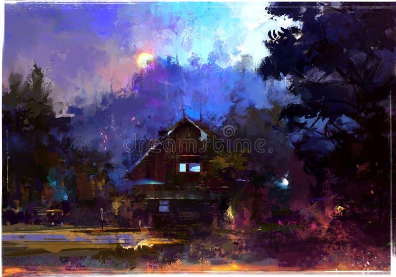 Paesaggio dipinto luminoso di sera con una capanna nella foresta illustrazione di stock