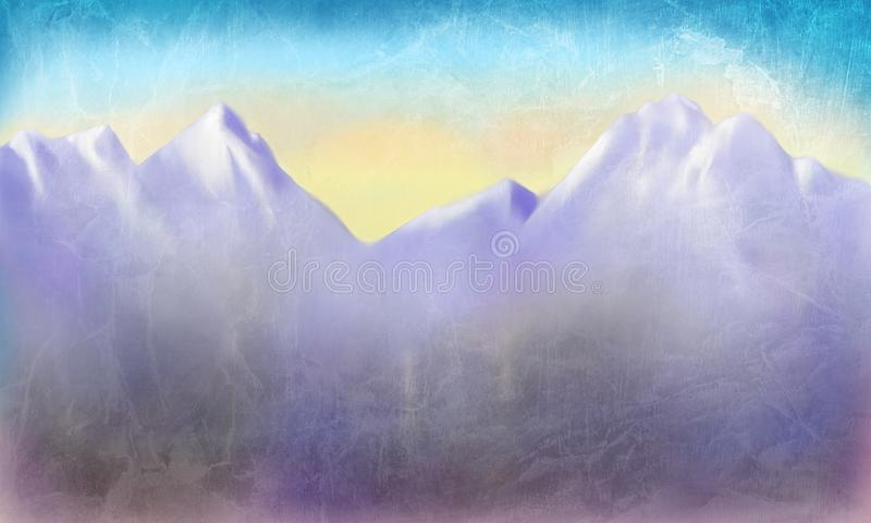 Paesaggio dipinto a mano della montagna con il tramonto o alba su cielo blu con il fondo d'annata afflitto invecchiato di struttu illustrazione di stock