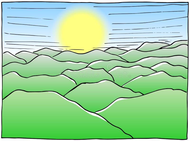 Paesaggio disegnato a mano con le colline royalty illustrazione gratis