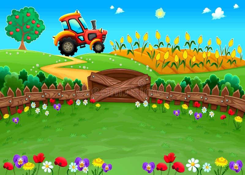 Paesaggio divertente con il trattore ed il campo di mais royalty illustrazione gratis