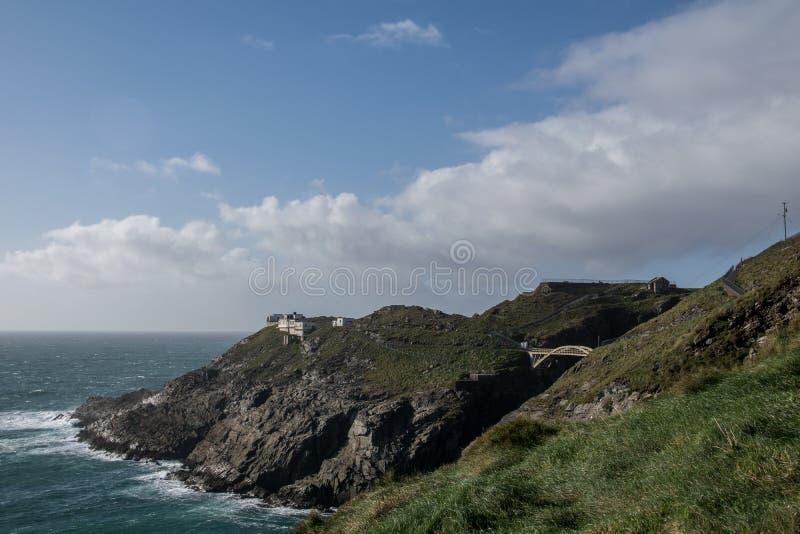 Paesaggio drammatico alla testa di mezzana sulla costa atlantica fotografia stock