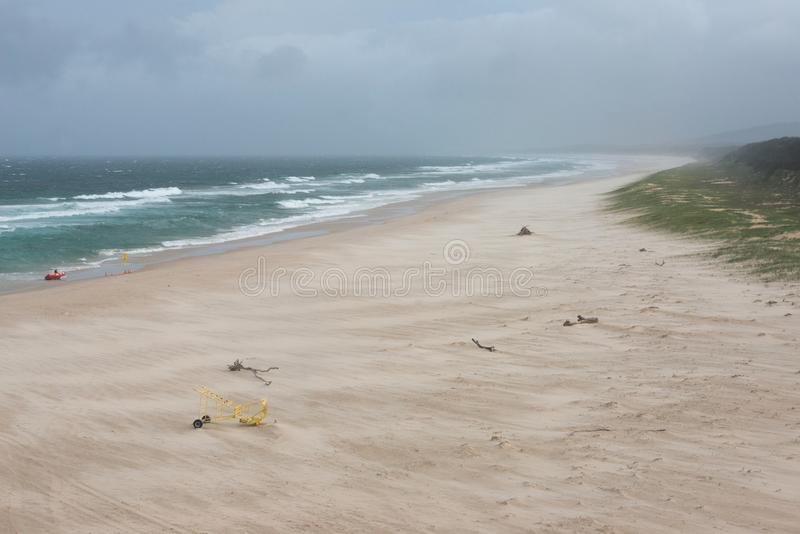 Paesaggio drammatico della spiaggia spazzato da vento immagine stock