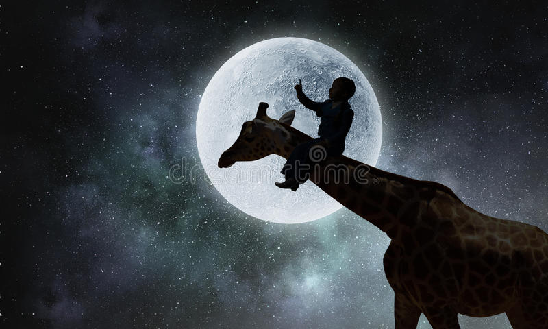 Paesaggio e giraffa naturali di safari Media misti fotografia stock libera da diritti