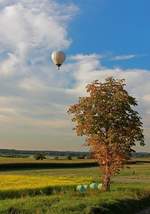 Paesaggio e mongolfiera rurali immagini stock libere da diritti