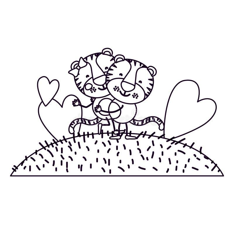 Paesaggio ed erba di scena della siluetta di schizzo con le coppie di caricatura delle tigri una che portano l'altra royalty illustrazione gratis