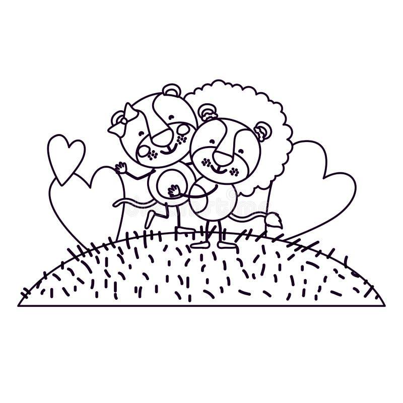 Paesaggio ed erba di scena della siluetta di schizzo con le coppie di caricatura della leonessa e del leone una che portano l'alt illustrazione di stock