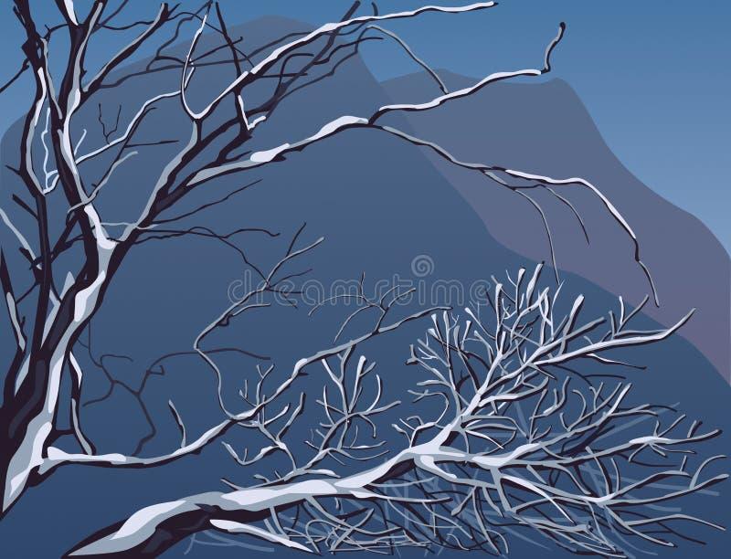 Paesaggio editable di inverno di vettore illustrazione di stock