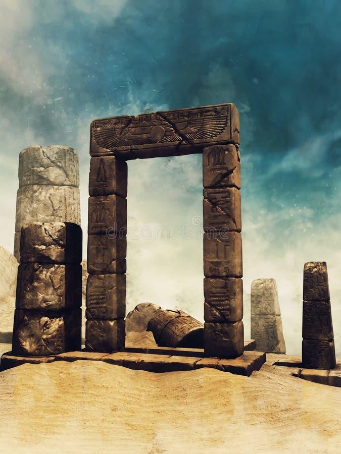 Paesaggio egiziano antico di rovine illustrazione vettoriale