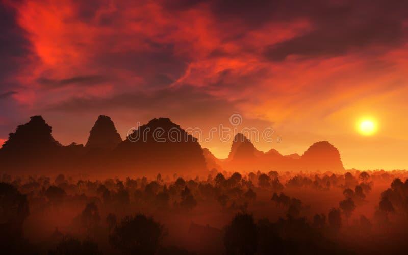 Paesaggio epico di tramonto delle terre dell'ombra illustrazione di stock