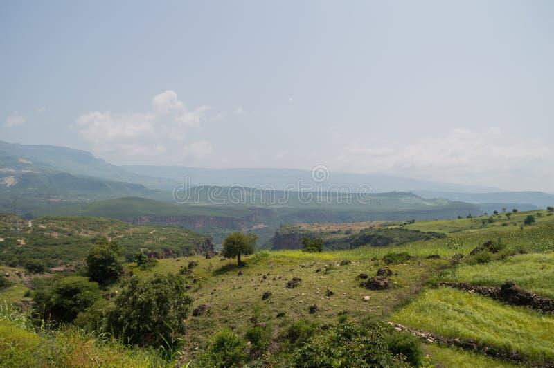 Paesaggio etiopico della campagna con il canyon nella regione del Amhara immagine stock
