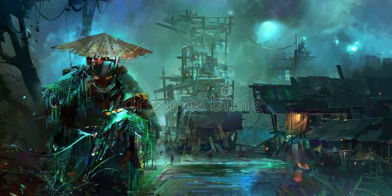 Paesaggio fantastico di stile di Cyberpunk di notte tirata con un soldato fotografia stock libera da diritti
