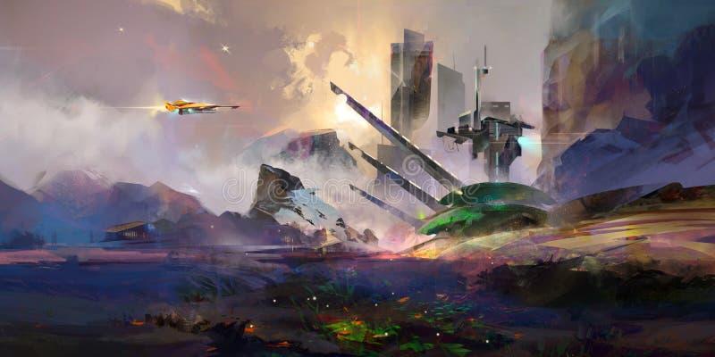 Paesaggio fantastico dipinto luminoso del futuro illustrazione vettoriale