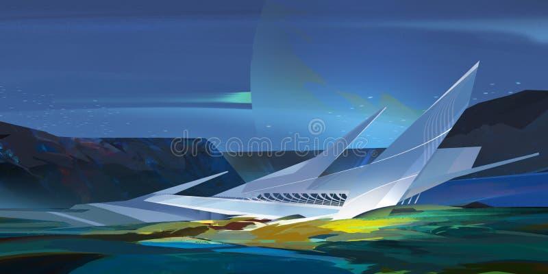 Paesaggio fantastico luminoso dipinto della montagna con architettura illustrazione vettoriale